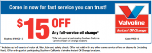Valvoline Full Service Oil Change Coupon