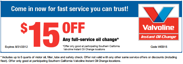 Nov 08, · Print oil change coupon. Find a Valvoline Instant Oil Change. Save on services. Transmissions, batteries, tire rotation, serpentine belts & more. Any Full-service Oil Change That Uses Synthetic Oil or Synthetic Blend. SEND VIA TEXT. SEND VIA EMAIL. PRINT. SEND. Cancel $ 7 OFF.