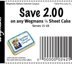 Wegmans Sheet Cake Coupon
