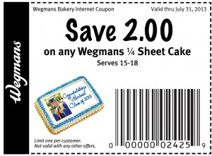 graphic about Wegmans Printable Coupon called Wegmans Sheet Cake Coupon Print Coupon King