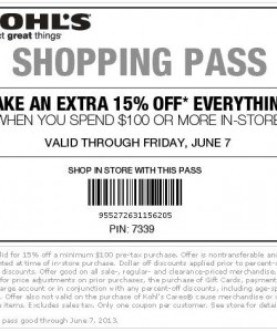 Kohls 15% Off Shopping Pass Coupon 2013