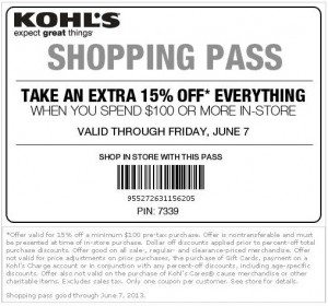 Kohls 15% off Shopping Pass Coupon