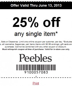 Peebles 25% off Coupon 2013