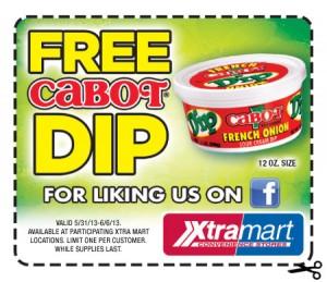 Free Cabot Dip, Xtramart Coupon 2013