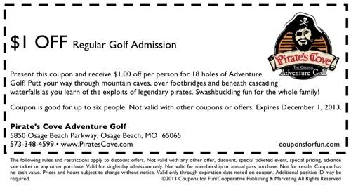 Discount coupons to pirates cove colorado