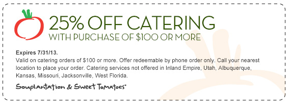 25 Percent off Sweet Tomatoes Catering Coupon 2013