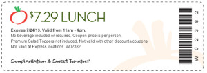 7 dollar lunch at Sweet tomatoes coupon