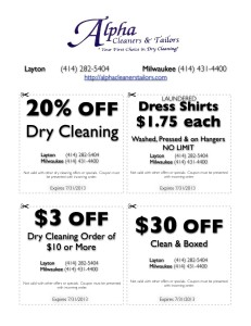 Alpha Cleaners and Tailors Discount Coupon