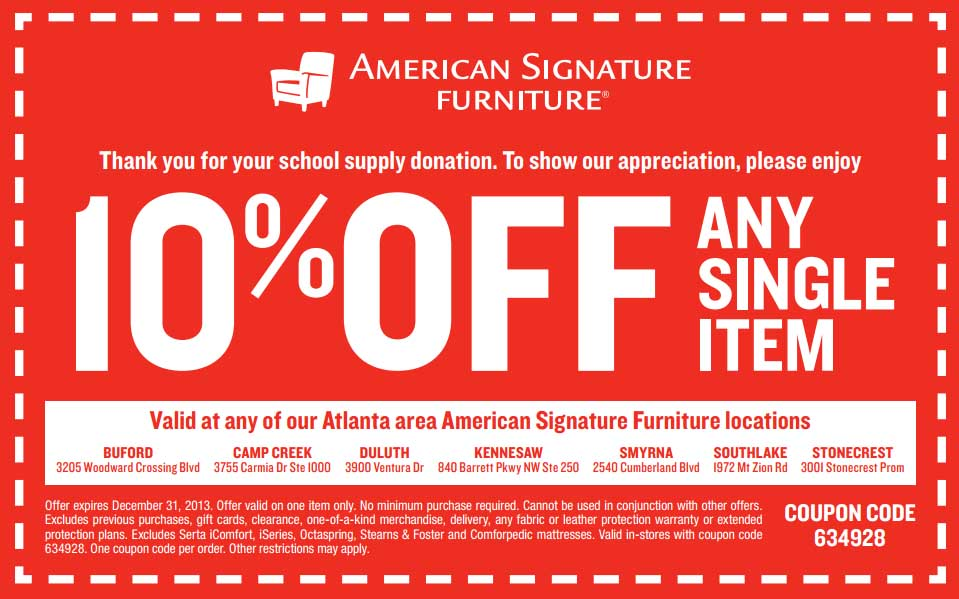 American Signature Furniture Coupon 2013