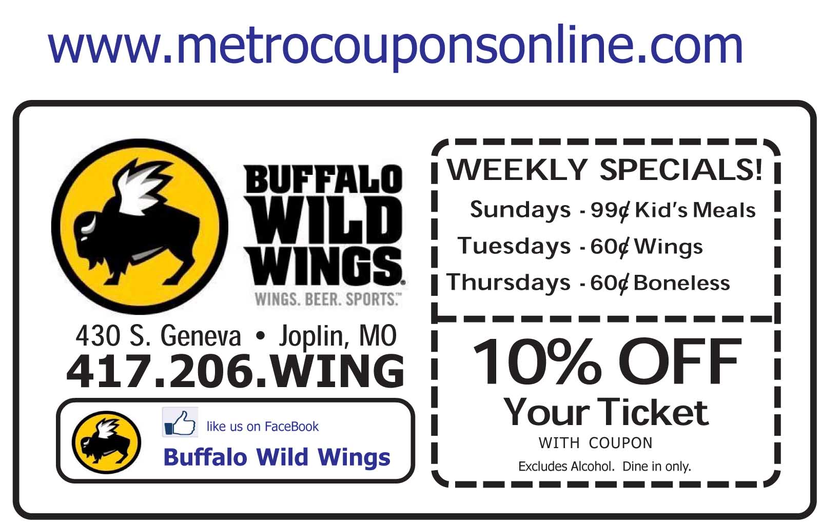 Buffalo wild wings discount coupons