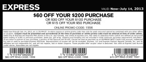 Express coupon 60 off 200 July 2013