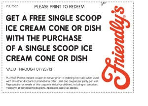 Free Ice Cream at Friendly's coupon