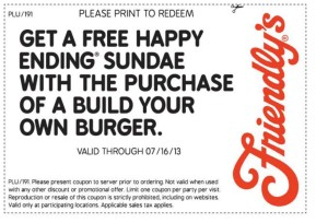 Friendly's free happy ending sundae coupon 2013