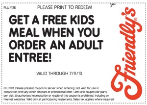 Friendlys free kids meal coupons