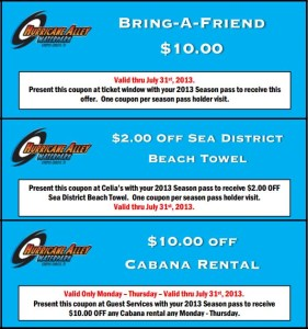 Hurricane Alley Waterpark coupons list 20131