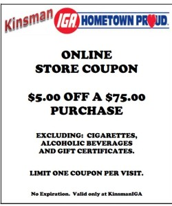 KINSMAN IGA DISCOUNT COUPON