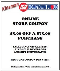 Kinsman IGA Hometown Proud Coupon Grocery Store