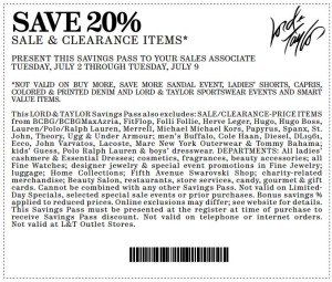 Lord and Taylor Coupon Sale and Clearance Items