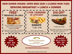 Painted Mountain Golf Resourt Food Coupons