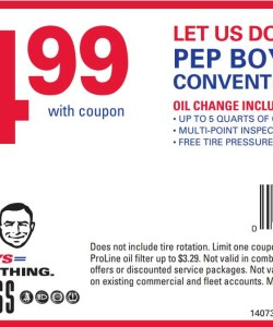 pep boys conventional oil change print coupon king. Black Bedroom Furniture Sets. Home Design Ideas