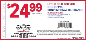 Pep Boys Conventional Oil Change Coupon 2013