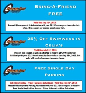 Second Hurricane Alley Waterpark Coupons