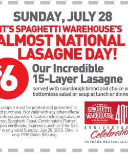 Spaghetti Warehouse Almost National Lasagne Day Coupon