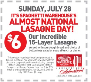 Spaghetti Warehouse Lasagne Coupon 2013
