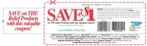 TRP Relief Product Coupon save 1 dollar