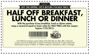 Toojays half off breakfast lunch or dinner
