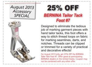 Bernina Tailor Tack Foot Coupon