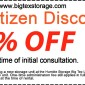Big Texas Storage Senior Citizen discount coupon
