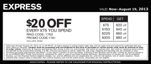 Express Coupon august 2013