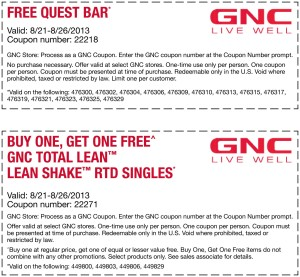 GNC free quest bar and lean shake