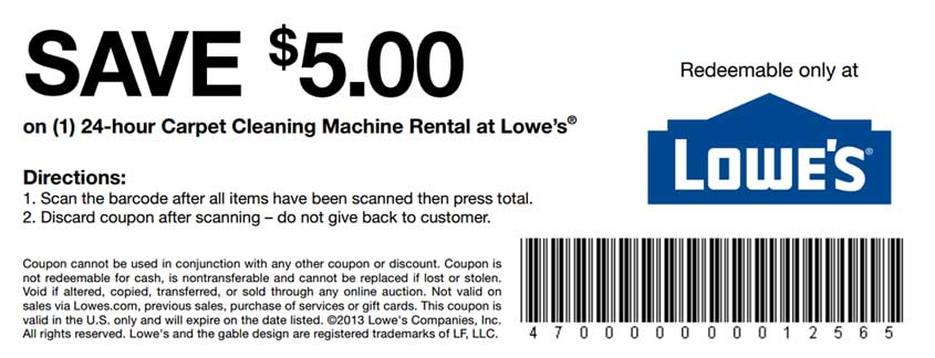 Lowe's carpet cleaning coupon | Print Coupon King