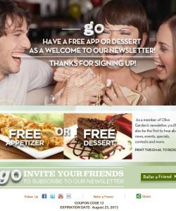 Olive Garden free appetizer or dessert coupon