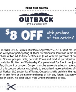 Outback Steakhouse Discount Coupon