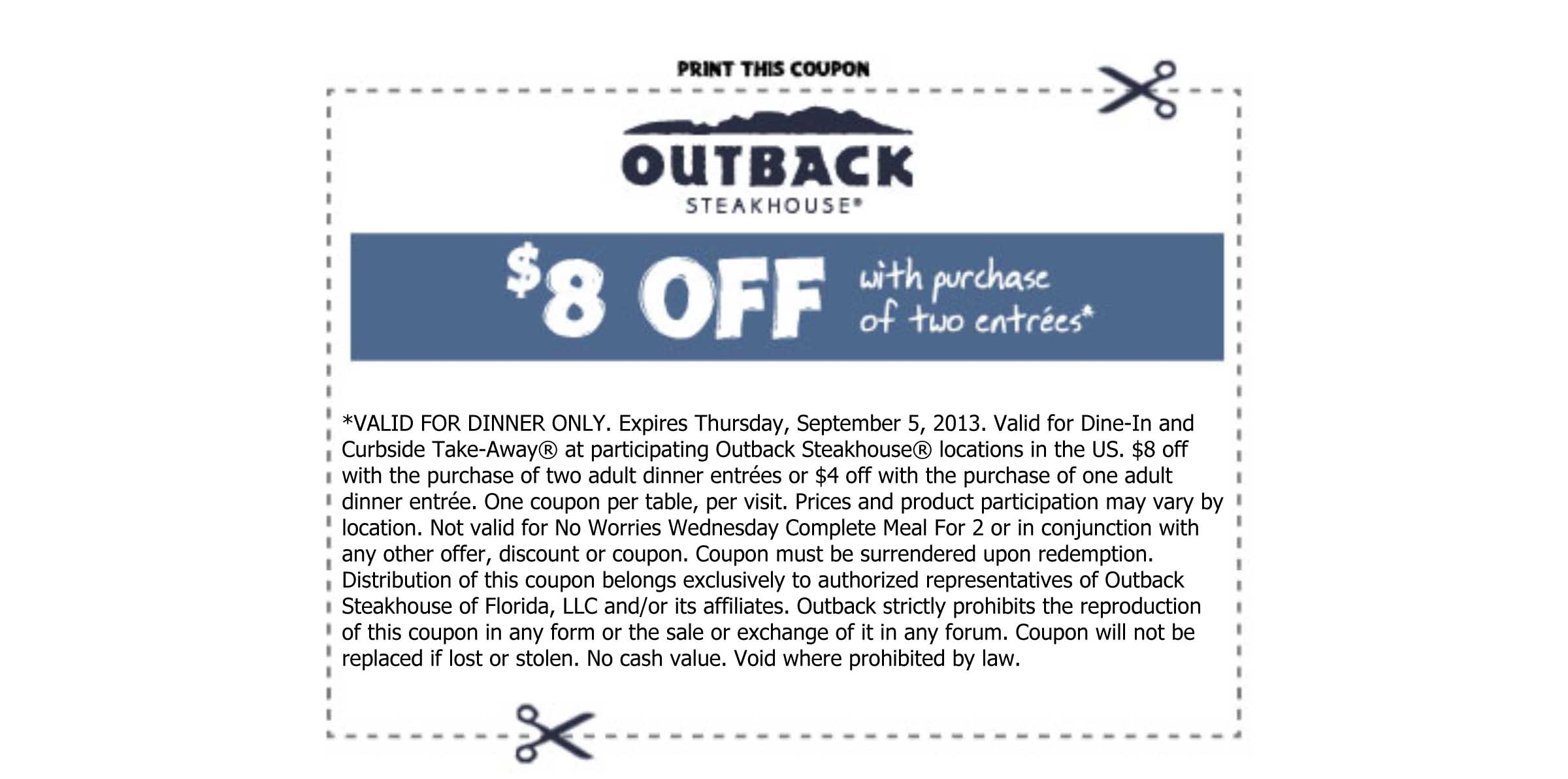 Outback coupons december 2018