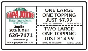 Papa Johns Coupon metro Joplin