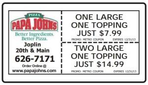 Papa Johns Coupon metro Joplin