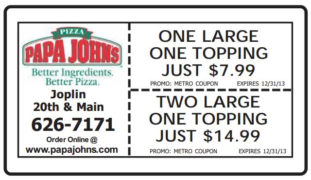 Papa johns coupon codes july 2018