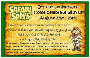 Safari Sams Free Jungle Gym Admission Coupon