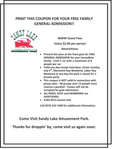 Sandy Lake Amusement Park Coupon