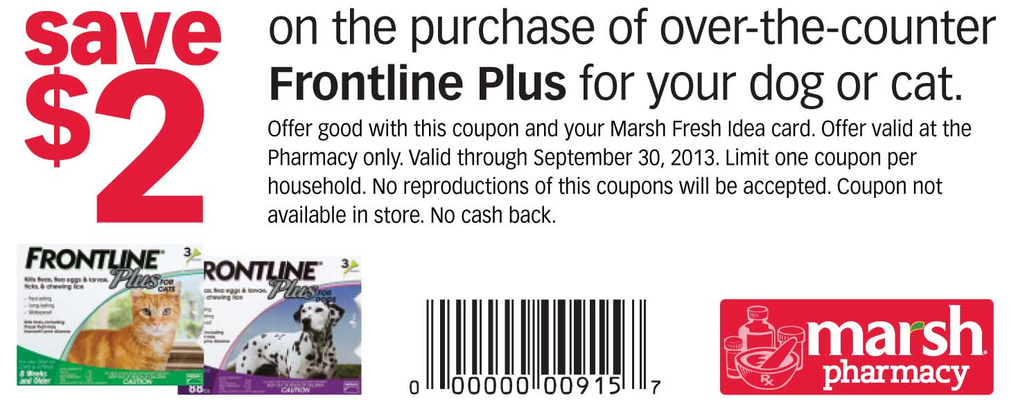 image regarding Frontline Coupons Printable referred to as Marsh Pharmacy Frontline Moreover coupon Print Coupon King