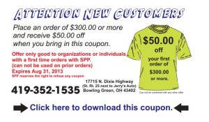 Screen Printed Products t-shirt coupon
