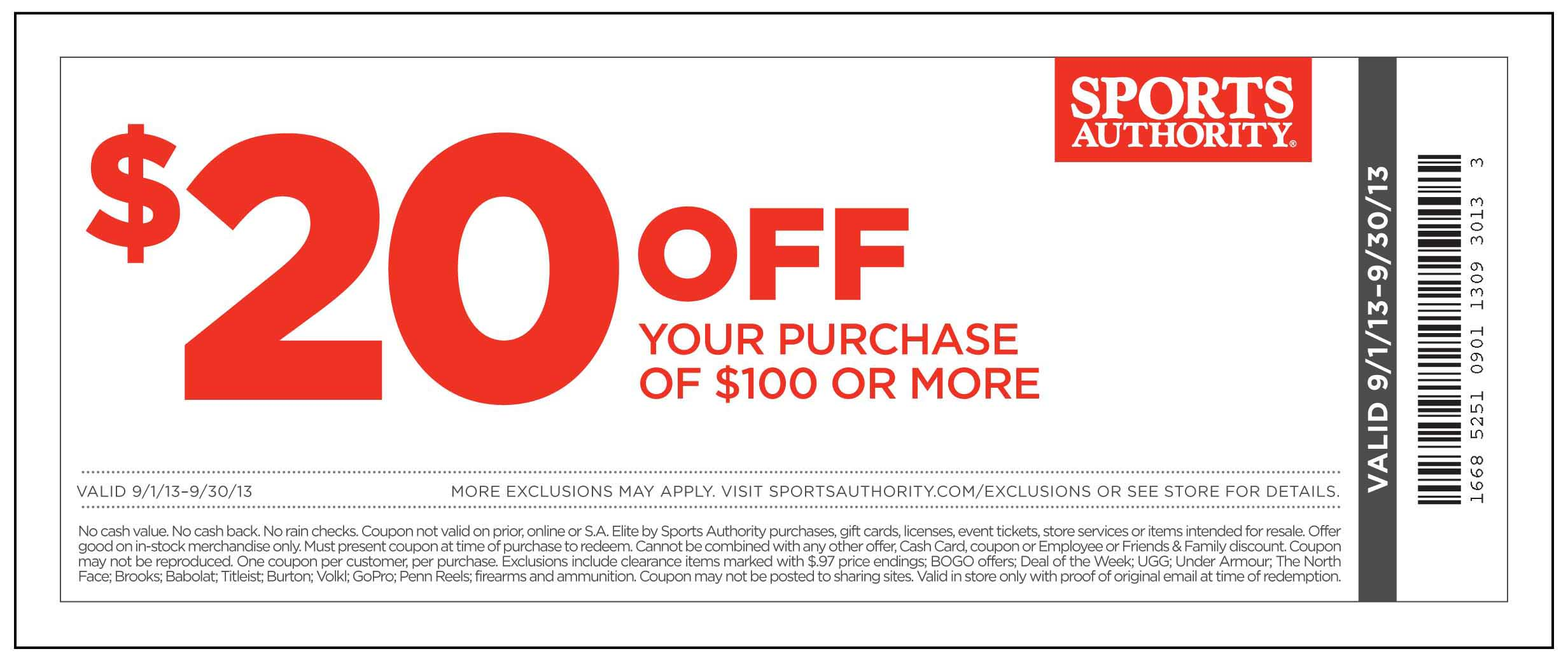 photograph regarding Academy Sports Coupons $10 Off Printable called Sporting activities authority coupon 20 off printable - Las vegas clearly show