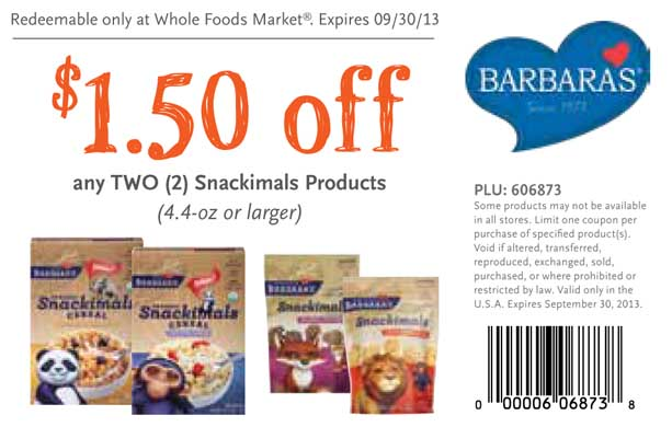 Whole Foods Barbaras Snackimals