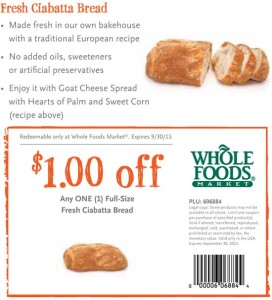 Whole Foods Fresh Ciabatta Bread Coupon
