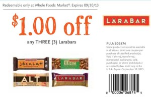 Whole Foods coupon Larabar