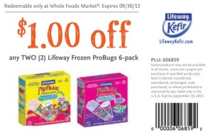 Lifeway Frozen ProBugs 6 pack Whole Foods Coupon